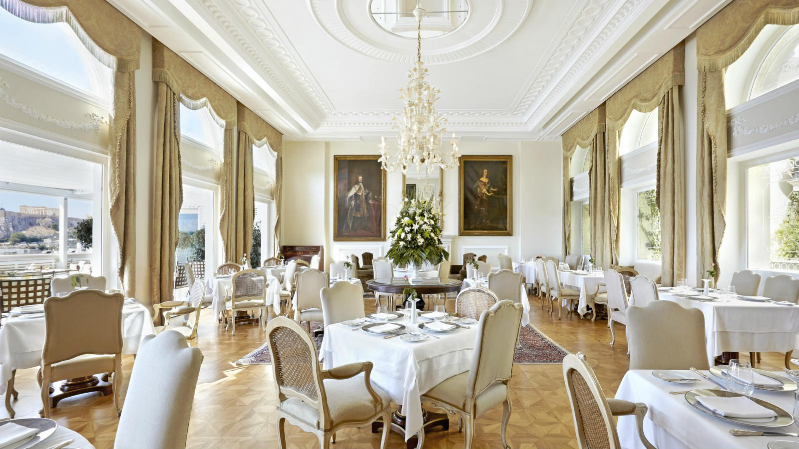 Tudor Hall restaurant in Athens Neo-classical decor Offering authentic Greek seasonal dishes with a modern twist King George Hotel