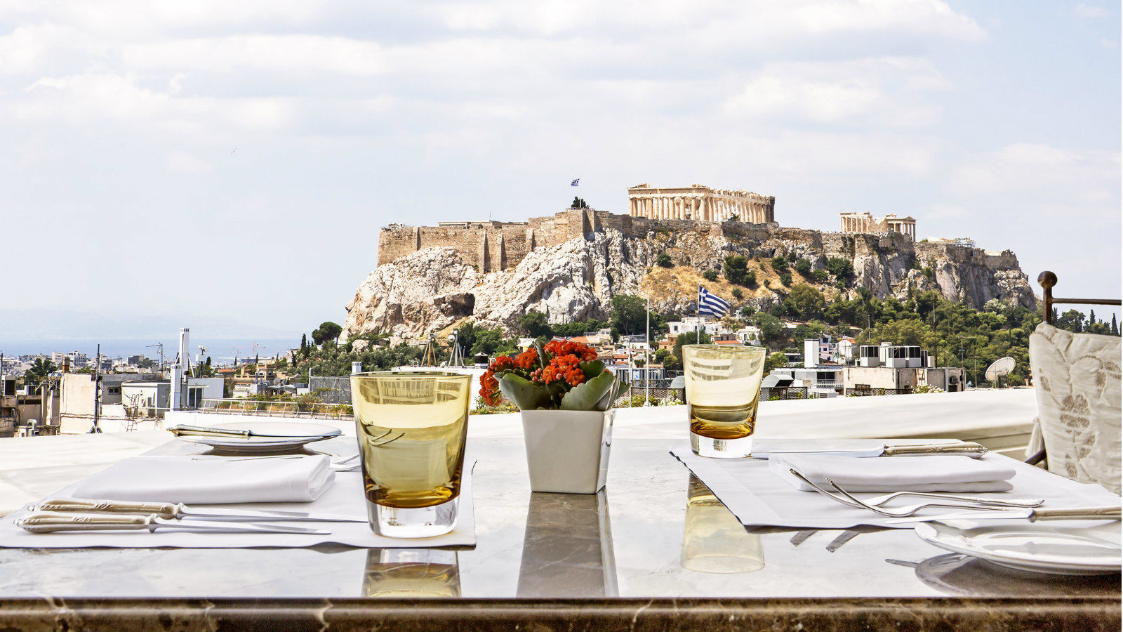 Tudor Hall Restaurant veranda overlooking the magical historic Acropolis_King George Athens Hotel